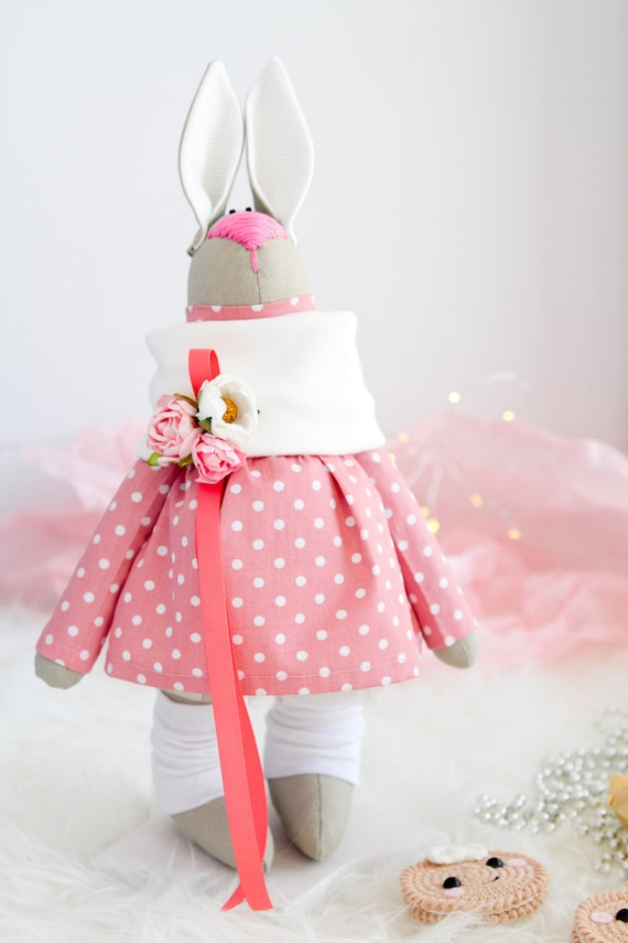 Pink Bunny Easter Gift Idea Stuffed Bunny Toy Pink Nursery Etsy