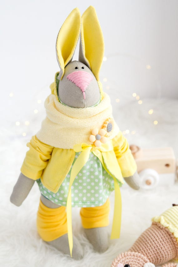 Bunny In Yellow Jacket Easter Bunny Soft Bunny Toy Stuffed Etsy