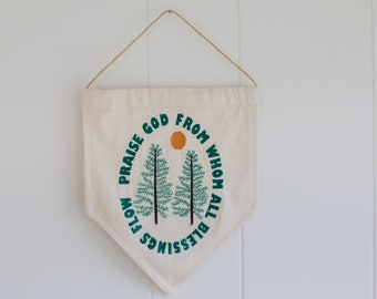 Praise God From Whom All Blessings Flow Doxology Embroidered Wall Hanging Pendant Home Decor Handmade Gift