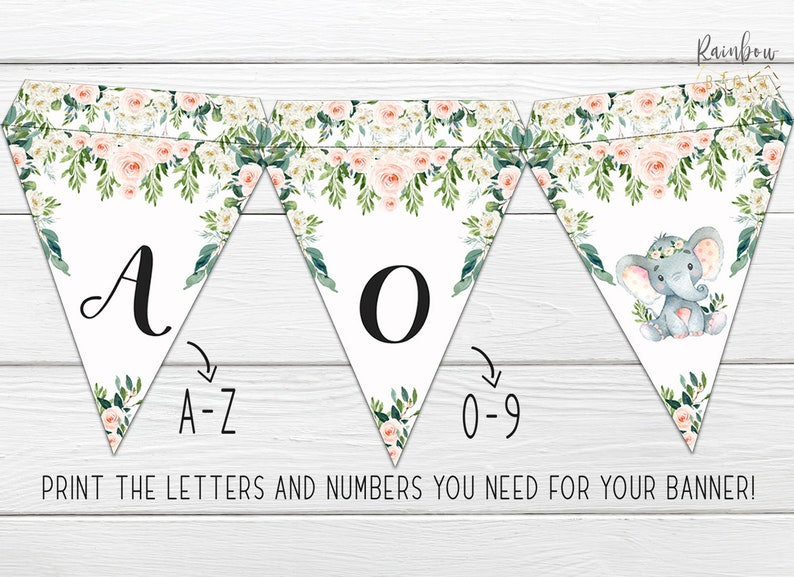 Boho BSL 88 Girl Elephant Floral Party Bunting Banner Elephant Baby Shower Bunting Banner Pink Floral Banner Greenery Little Peanut