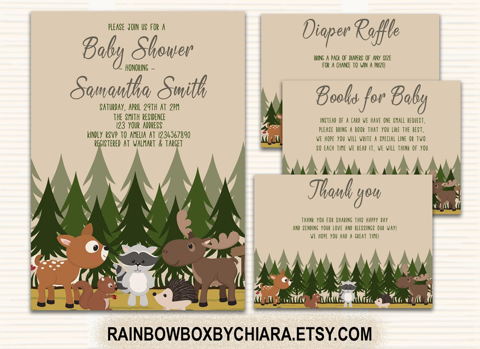 Woodland Baby Shower Woodland Baby Shower Invitations | Etsy