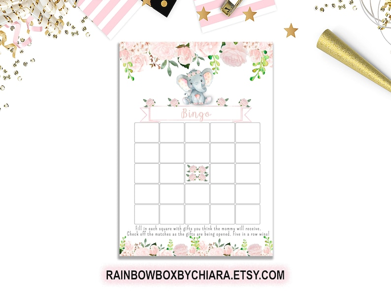 image about Money Bingo Printable referred to as Elephant Bingo Recreation, Red Floral Elephant Shower Match, Bingo Printable Youngster Shower Sport, Lady Kid Shower Concept - BSG008