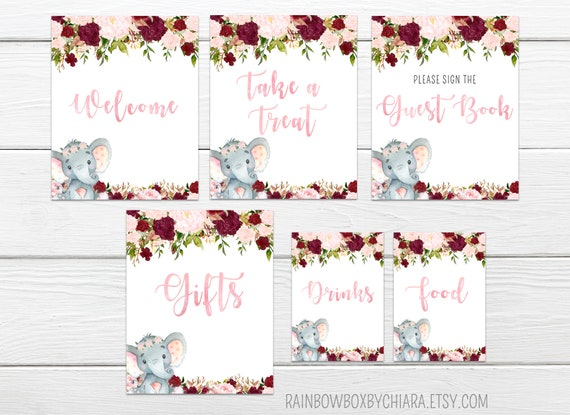 photo relating to Baby Shower Signs Printable named Elephant Child Shower Indicators, Printable Crimson Floral Kid Shower Desk Indicators, Tiny Peanut, Floral Elephant Little one Shower Signs and symptoms, Marsala BSL 20