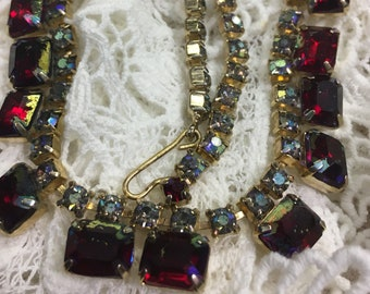 """14"""" choker or  bracelet with red crystal and Rhinestone set in gold"""