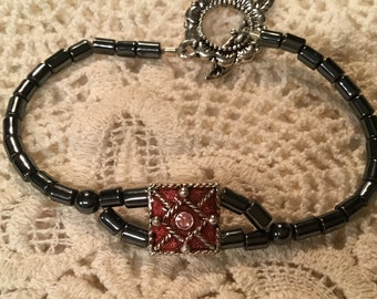 Black and Red Swarovski Crystals Bracelet
