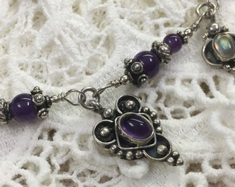 Boho Vintage antiqued silver neclace with purple beads and opal beads
