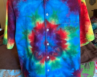fc28fa3a2ba4 Mens XL tall tie dye festival camp short sleeve shirt