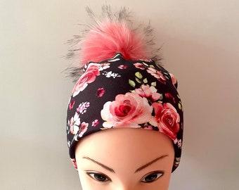 tuque beanie bonnet lined autumn winter woman jersey cotton lycra flowered on black background interchangeable pompon faux fur pink