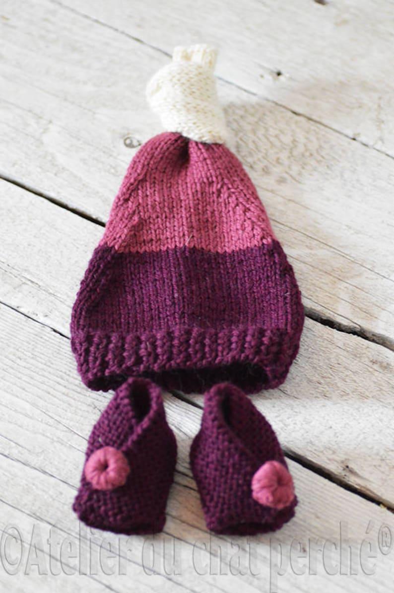 Tuque bonnet lutin à noeud tricot laine péruvienne violet | Etsy