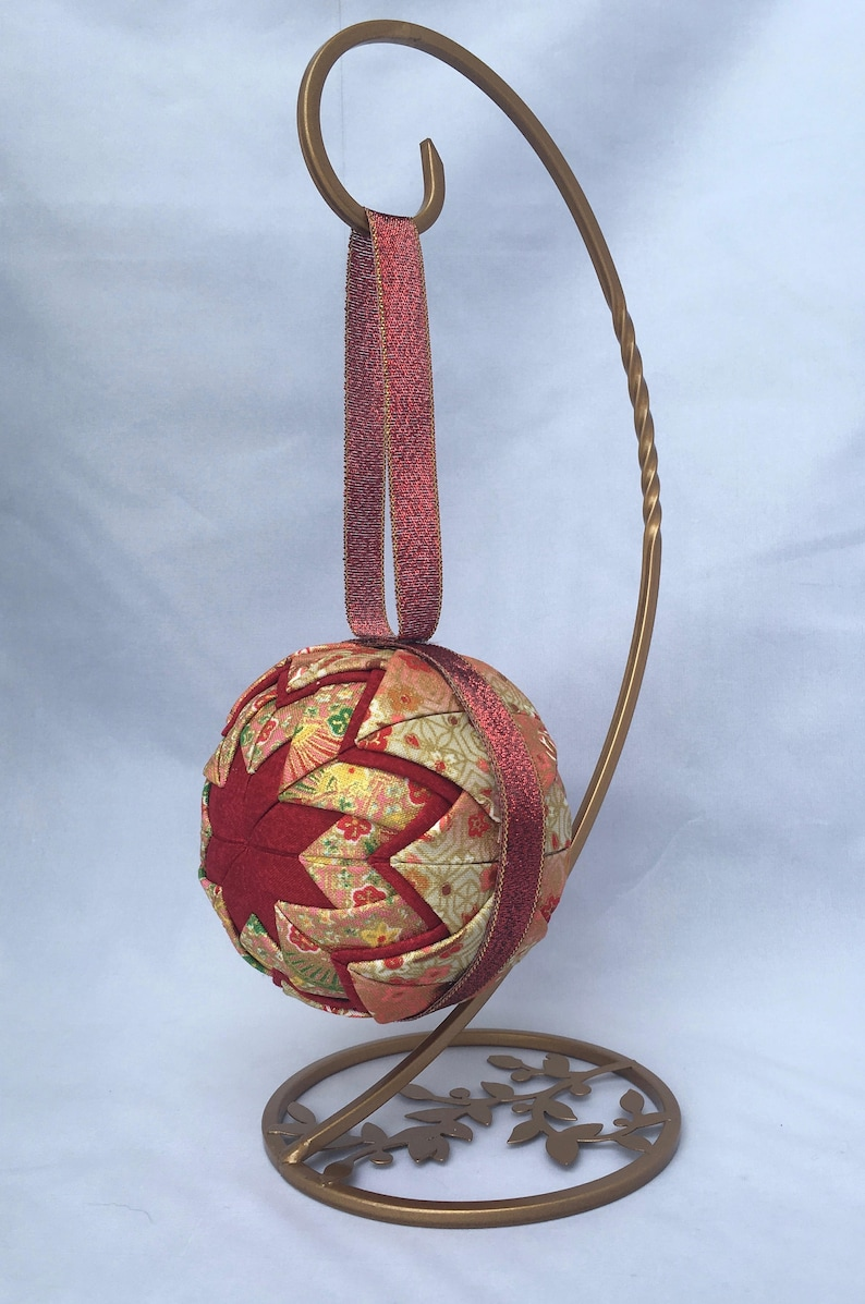 Japanese Christmas Decor Quilted Ornament Red Orange Gold Etsy