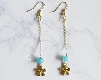 Angelite Gold Plated Flower Earrings