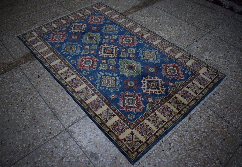 Size: 6'4 x 4 feet & 194 x 122 cm, Beautiful Handmade Afghan Oriental Kazak  Area Rug, High Quality Decorative Geometric Carpet 100% Wool