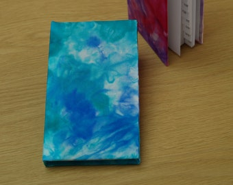 Address Book Covered in Blue and Jade Hand Painted Silk