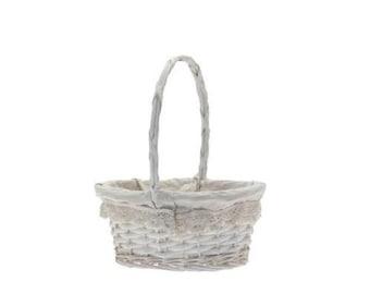 7beab9f92eebb Oval white lace trim bridesmaid flower girl confetti petal basket with  white lace trim
