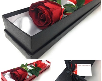 Single Red Rose in Red Or Black Silk Lined Box Artificial Flower Love Valentines Gift Her Him Engagament Surprise