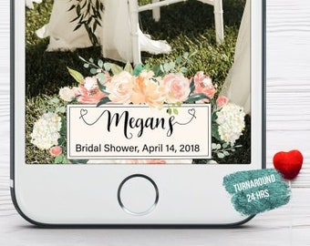 Floral Bridal Shower Snapchat Filter Watercolor Flowers Bridal Shower Geofilter Geotag Bridal Snap Chat Bridal Shower Tea Party Geofilter