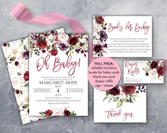 Rose Gold Baby Shower Invitation Instant Download Editable PDF BG01LM Burgundy Floral Oh Baby Shower Invite Boho Gender Neutral Backside