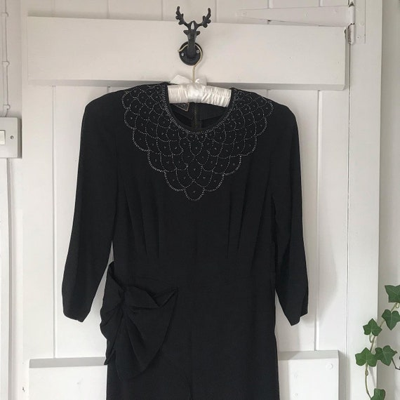1930s Black Dress with Beaded Neck