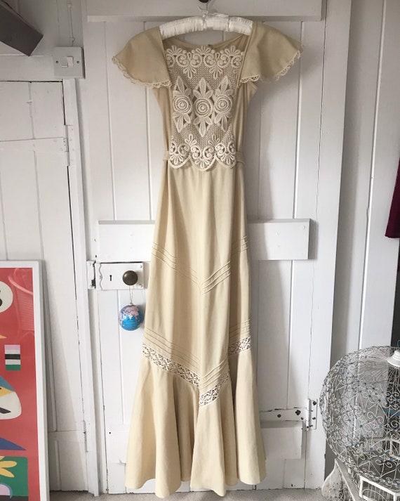 1970s Vintage Boho Wedding Dress