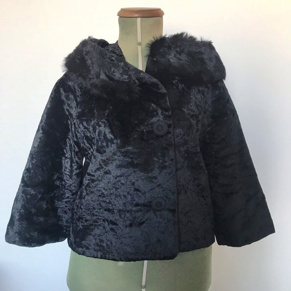 1950s Cropped Coat with Fur Collar
