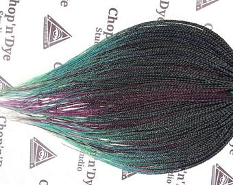 Full set of double ended synthetic braids, Ombre colors Black\green+blue\pink+purple