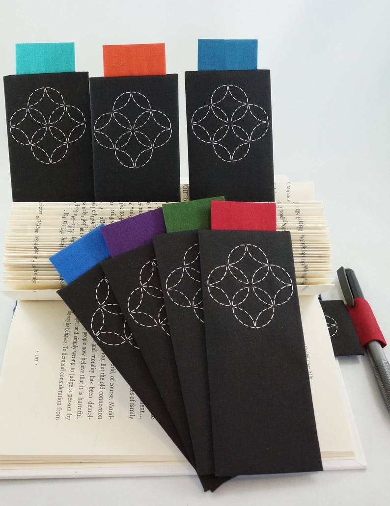 Fabric Bookmark with Pen Holder Hand-stitched Sashiko image 0