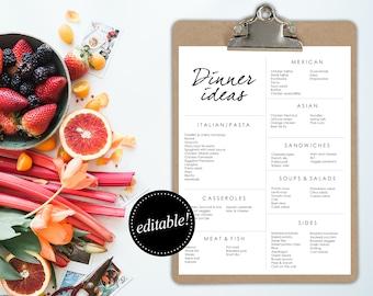 Dinner Ideas / Editable Printable / Meal planning