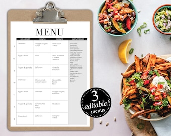 Editable Menus / Meal Planner / Breakfast Lunch Dinner