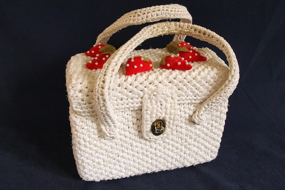 Awesome Mid-Century Basket Purse with Velvet Straw