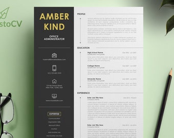 Office Administrator Resume, CV Resume Template, Instant Download, Creative Resume, Digital CV Resume, MS Word Resume Template, Cover Letter