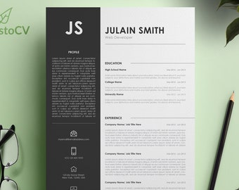 Professional Resume CV, Curriculum Vitae, MS Word Resume, Cover Letter Template, Modern CV Resume, Digital Resume Template, Reference Letter