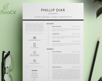 Accountant Resume Template, CV Resume Template, MS Word Template, Cover Letter, Reference Template, Modern Resume, Instant Download