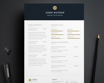 CV Resume Template, Instant Download Resume, Senior Accountant CV, Modern Design CV, Professional Resume, Designer Resume, Word Resume