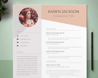 CV Template, Resume With Photo, Curriculum Vitae, Reference Template, Cover Letter Template, Modern Resume Template, MS Word Resume Template