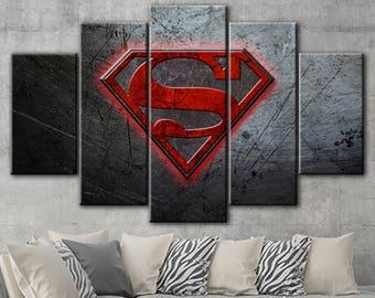 Superman canvas, Superman canvas art, DC comics canvas, Superman canvas, Superman art, Superman print, DC Comics Superheroes, DC home decor