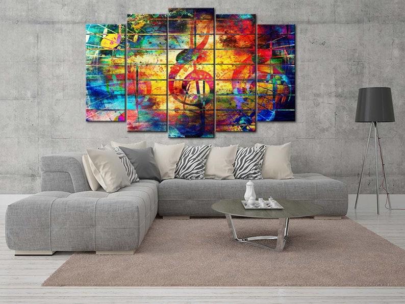 Large Wall Decor Multicolor Treble Clef Multicolor Canvas Wall Print Treble Clef Modern Wall Art Rainbow Treble Clef Unique Office Decor