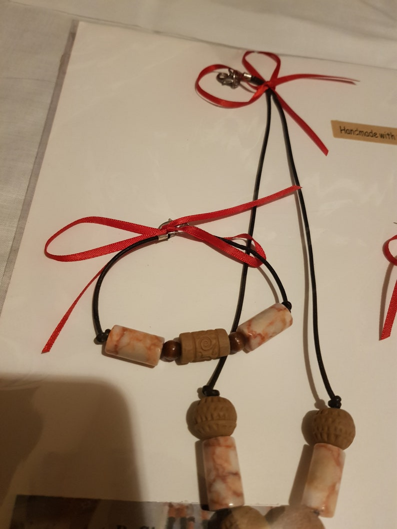 Marble and Wood Bead Jewelry Set Clay