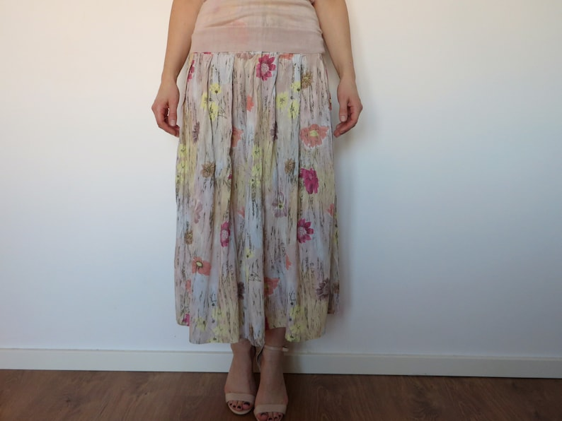 218b5b7b009ef Floral Summer Skirt Women's Casual light outfit Vintage large L Colorful  Skirt Retro Midi skirt Elastic waist Midi 80s skirt Pastel colors