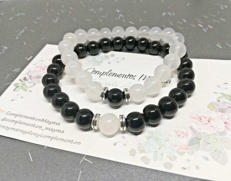 f77c59c499ea Pulseras distancia, pulseras parejas, pulseras ajustables, pulseras yin  yang, pulseras piedra natural