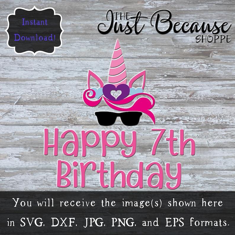 SVG Unicorn 7th Birthday Happy Seventh Svg
