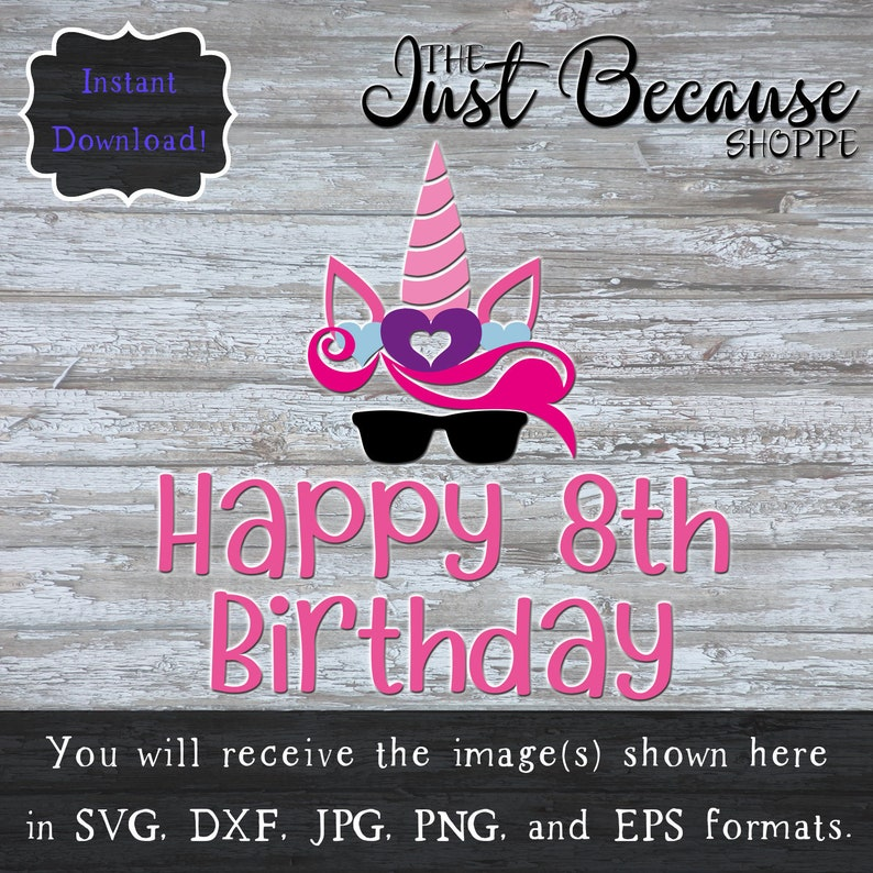 SVG Unicorn 8th Birthday Happy Eighth Svg