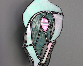 Handmade oyster stained glass suncatcher