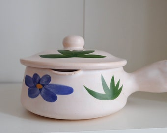 Vintage French Flower  Saucepan 60's Poteries du Marais France Ceramic Céramique соусница Франция Ручная роспись