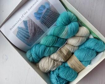 En tricot Kit, cadeau, tricot, luxe fil Kit, Kit avec fil Turquoise motif  et fils, fils de l Ombre, f051d62ed5b