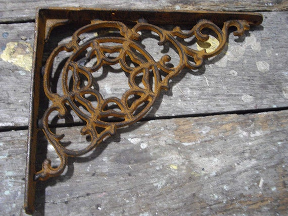SET OF 6 SPIDERWEB CAST IRON SHELF BRACE BRACKETS rustic black finish