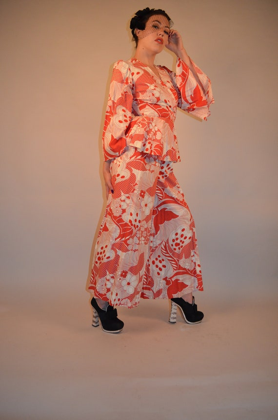 70's Vintage Psychedelic Palazzo Pant and Flared S