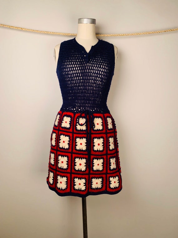 Adorable 60's Crocheted Mini Dress