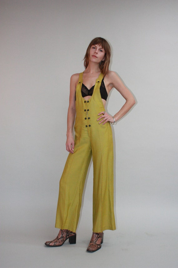 1970s Olive Homemade Overalls SZ XS/S