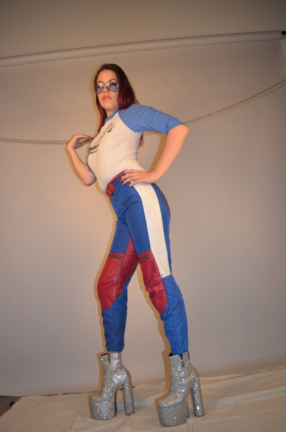 70's BILL WALTERS LEATHERS Red Hot Moto Mama Pants
