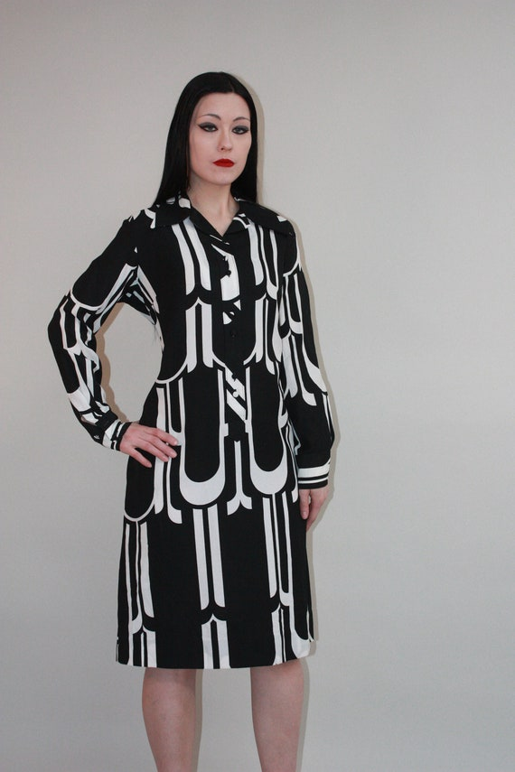 LANVIN 1960s ABSTRACT Black & White Dress, Vintage